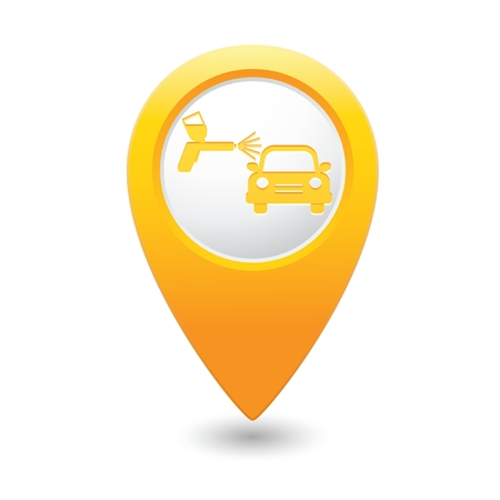 sprayer: Yellow map pointer car and paint sprayer icon.