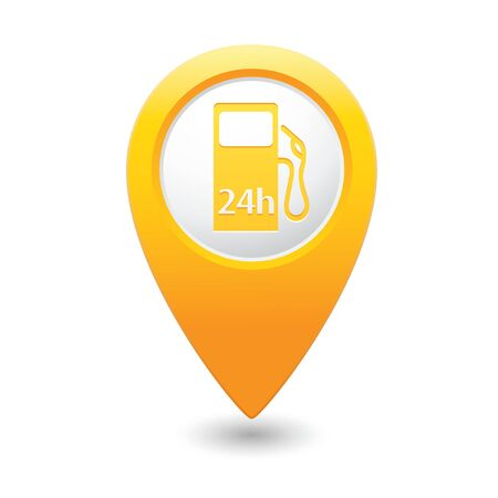 yellowrn: Yellow map pointer with gas station icon. Vector illustration