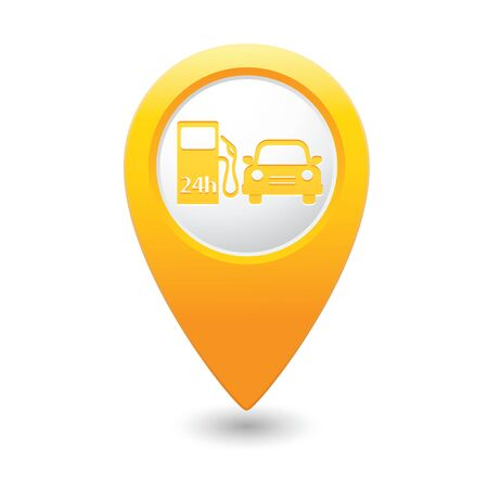 yellowrn: Yellow map pointer with gas station icon. Illustration