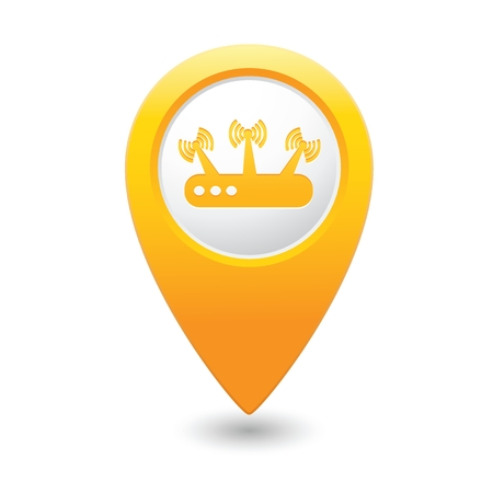 yellowrn: Yellow map pointer with wireless icon.  Illustration