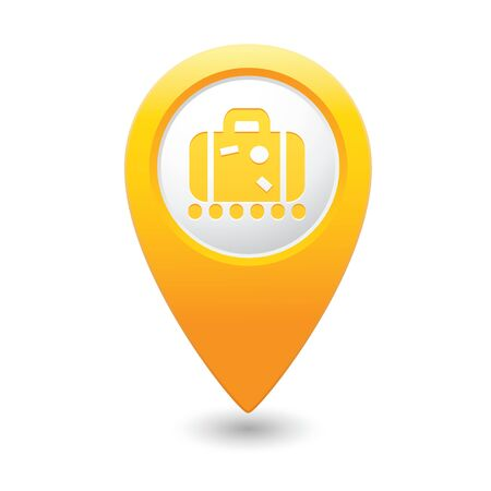 yellowrn: Yellow map pointer with suitcase icon.