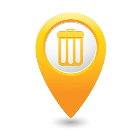 Yellow map pointer with trash can icon. Vector