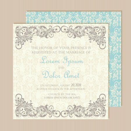 Wedding vintage invitation card or announcement
