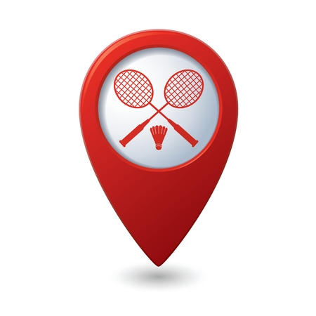 Red map pointer with badminton icon.