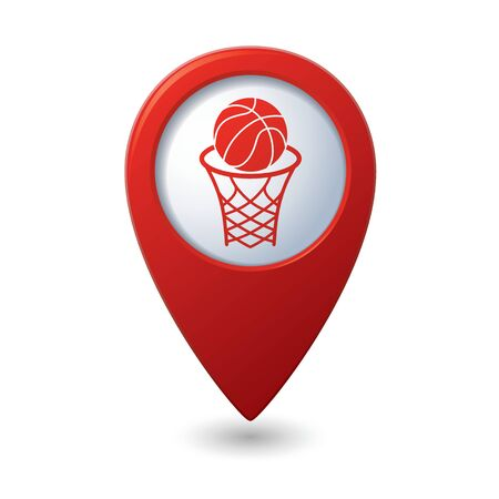location shot: Red map pointer with basketball basket and ball sign icon.