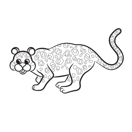 outlined: Outlined leopard vector illustration. Isolated on white.