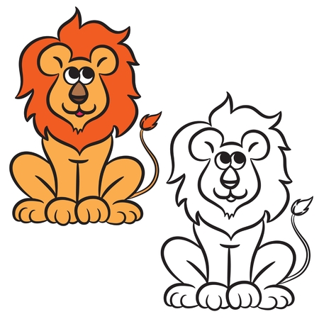 drawing large: Cartoon lion. Coloring book. Vector illustration. Illustration