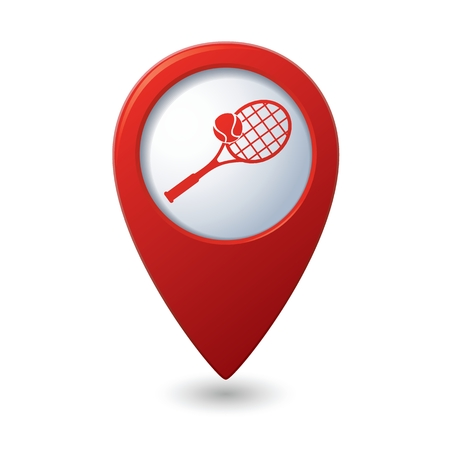 vectorrn: Red map pointer with tennis racket and ball icon. Illustration