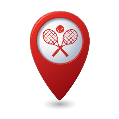 Red map pointer with tennis racket and ball icon. Illustration