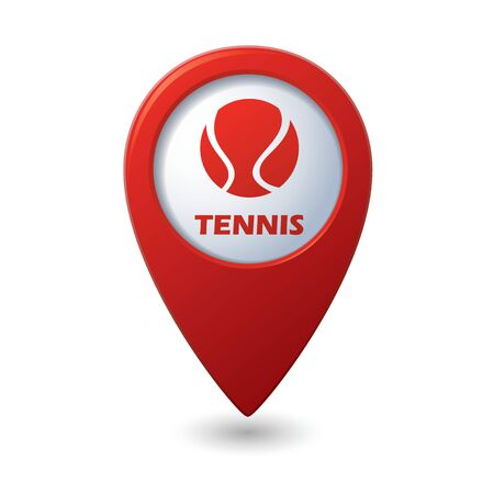 vectorrn: Red map pointer with tennis ball icon.