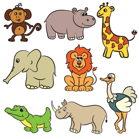 zoo: Cute zoo animals collection. Vector illustration. Illustration