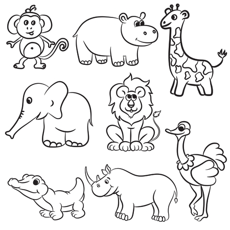 Cute outlined zoo animals collection. Vector illustration. Vector