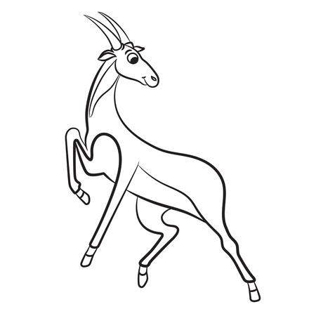 gazelle: Outlined antelope vector illustration. Isolated on white.