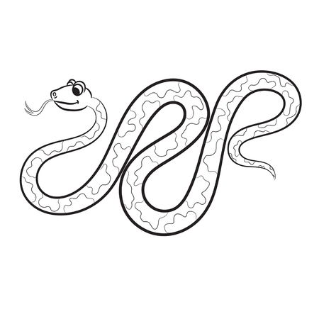 Outlined snake vector illustration. Isolated on white. Vector