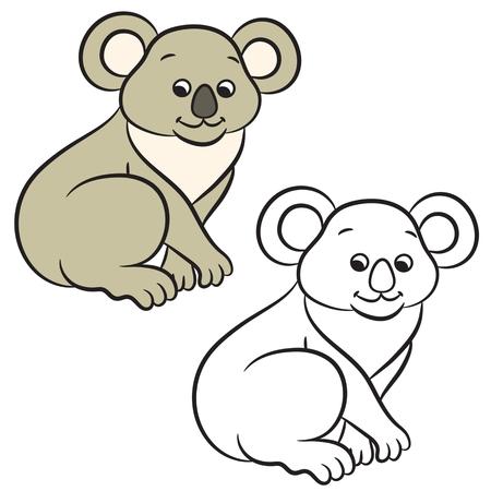 Koala bear vector illustration. Coloring book. Vector illustration. Vector