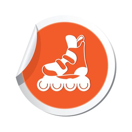 casters: Yellow map pointer with roller skate boot icon. Illustration