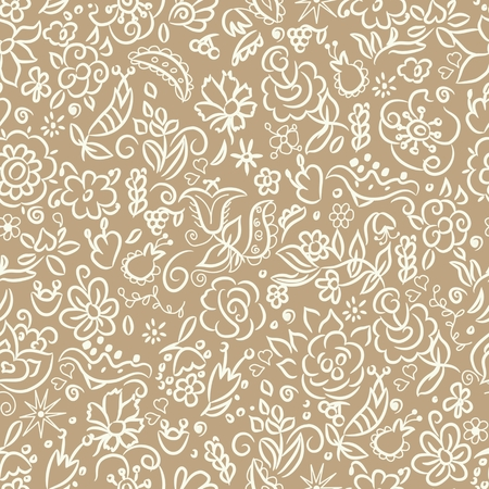 wallpaperrn: Abstract seamless pattern with beautiful hand drawn floral background. Vector illustration
