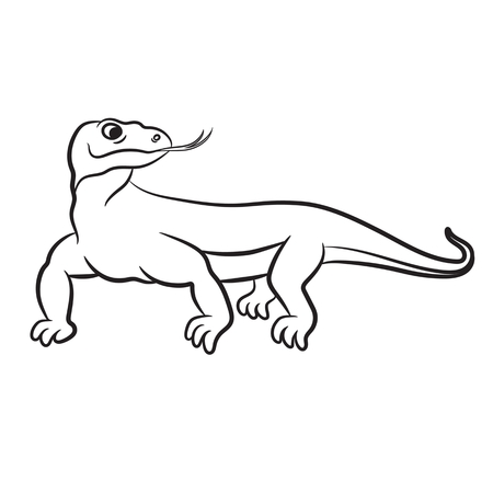 outlined isolated: Outlined varan (komodo dragon) vector illustration. Isolated on white.