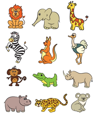 animal outline: Cute zoo animals collection. Vector illustration. Illustration