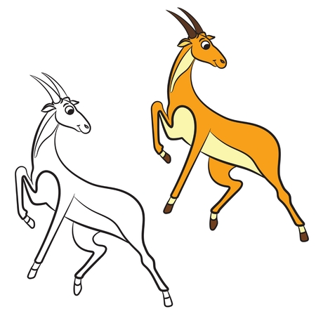 Illustration of cute antelope. Coloring book. Ilustração