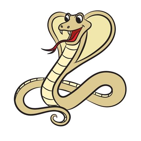 serpiente cobra: Ilustración de la serpiente de la cobra sobre un fondo blanco. Vector