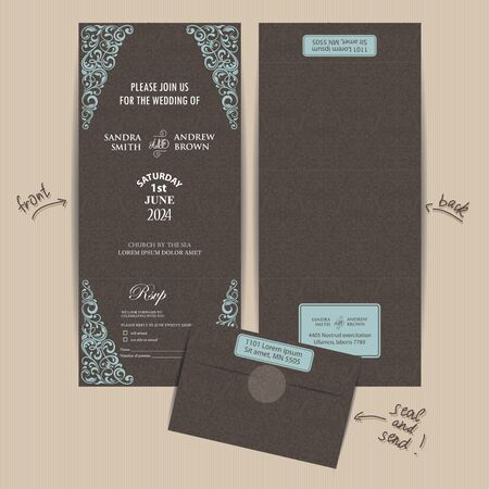 wedding day: Vintage All in One Wedding Invitation. Seal and Send card. Illustration