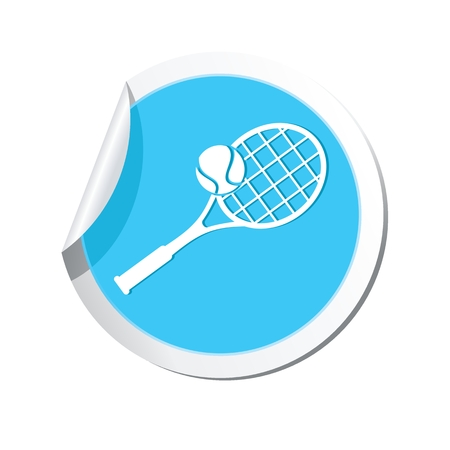 Tennis racket and ball icon.
