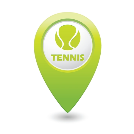 backhand: Green map pointer with tennis ball icon. Illustration