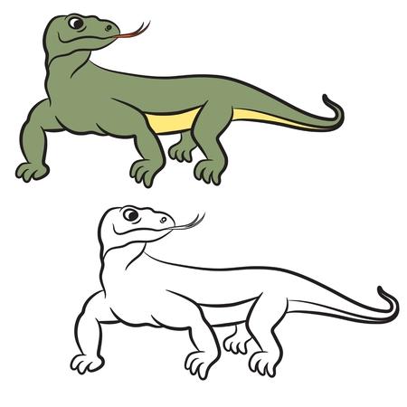 spines: Illustration of varan (komodo dragon). Coloring book. Illustration