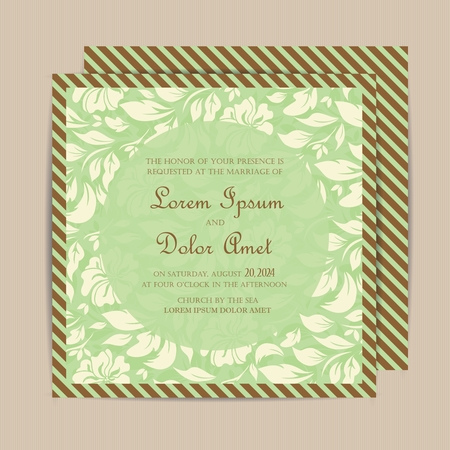 thank you cards: Wedding vintage invitation card or announcement.