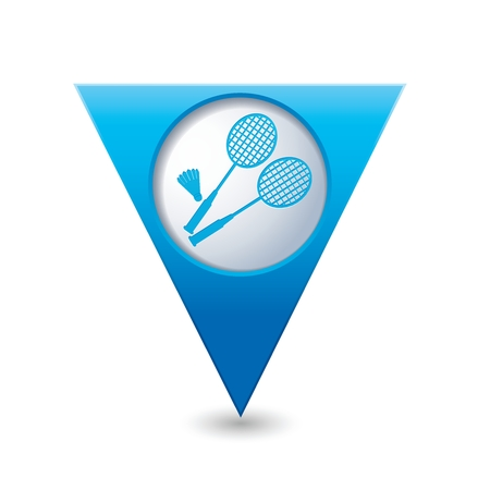 badminton: Blue triangular map pointer with badminton icon. Illustration