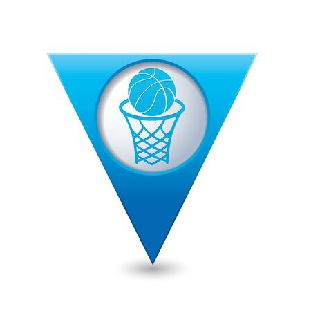 Blue triangular map pointer with basketball basket and ball sign icon. Vector