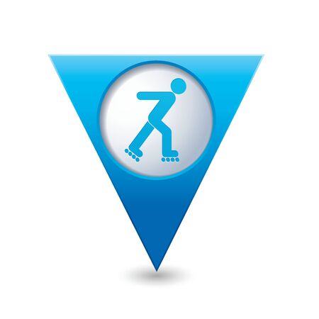 casters: Blue triangular map pointer with roller skating icon.