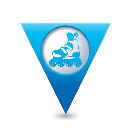 blue roller: Blue triangular map pointer with roller skating icon.