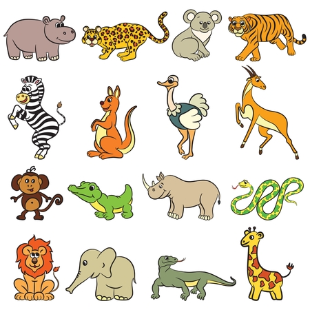 Cute zoo animals collection. Vector illustration. Vectores