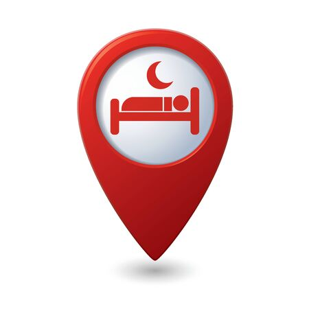 hotel icons: Red map pointer with hotel icon.