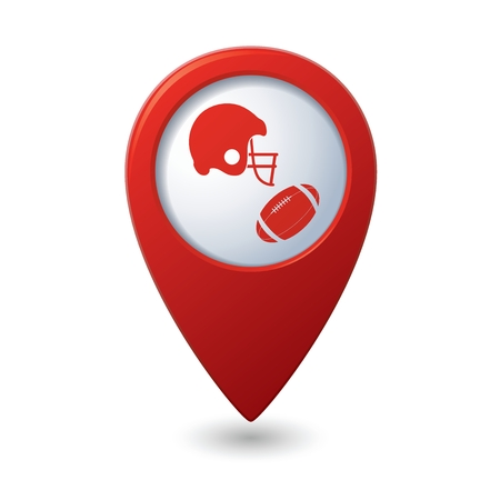pigskin: Red map pointer with american football icon Illustration