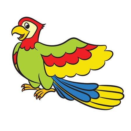 Cartoon parrot on a white background. Vector Vector