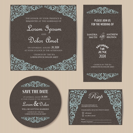 date: Vintage Wedding Invitation Cards Set