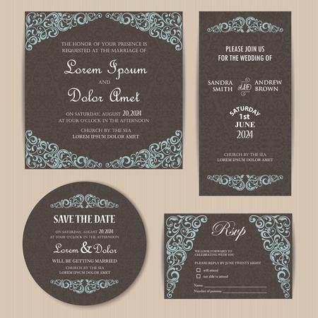 announcement: Vintage Wedding Invitation Cards Set
