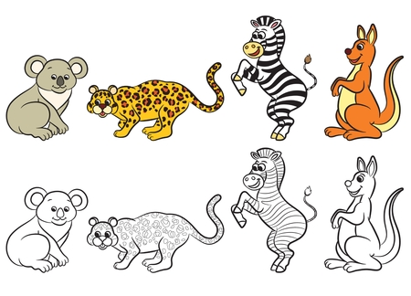 vector illustration: Cute zoo animals collection. Coloring book. Vector illustration. Illustration