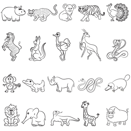 tiger page: Cute outlined zoo animals collection. Vector illustration.