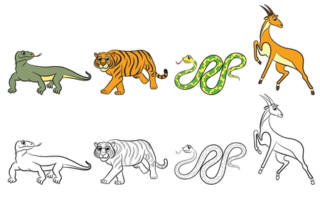 child tongue: Cute zoo animals collection. Coloring book. Vector illustration. Illustration