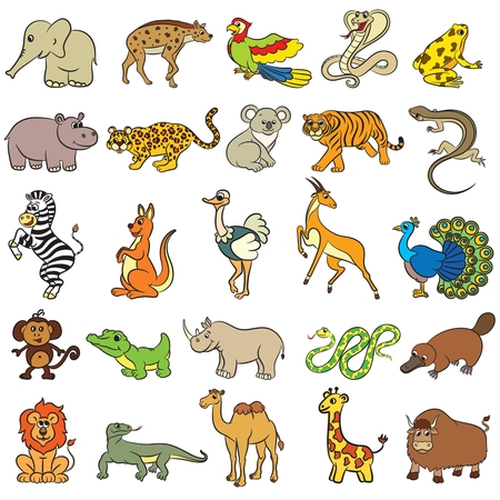Cute zoo animals collection. Vector illustration. Illustration