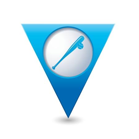 backhand: Blue triangular map pointer with baseball icon Illustration