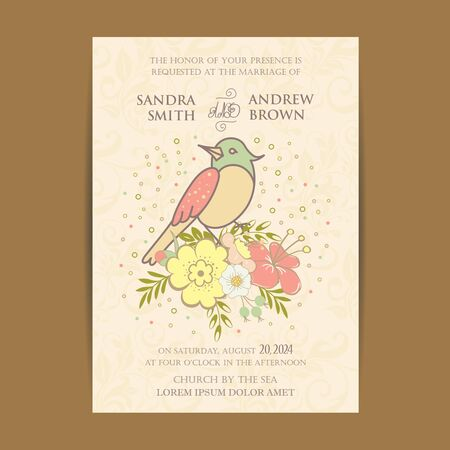 notebook design: Bird with flowers for your design