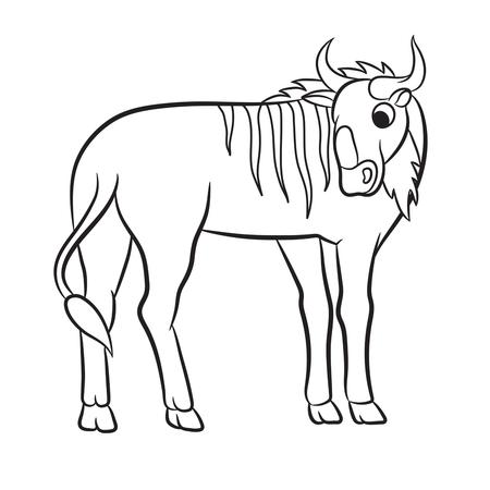 Ilustración De Un ñu Dibujo Para Colorear Ilustraciones