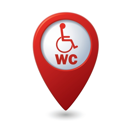 paralyze: Red map pointer with restroom icon