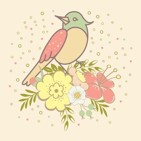 oiseau dessin: Vintage carton d'invitation avec des oiseaux et des fleurs Illustration