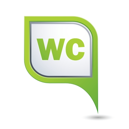 wc sign: Green map pointer with WC sign. Vector illustration Illustration